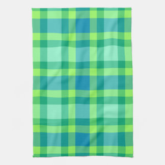 Mid-Century Modern Plaid - Jade green and Blue Tea Towel