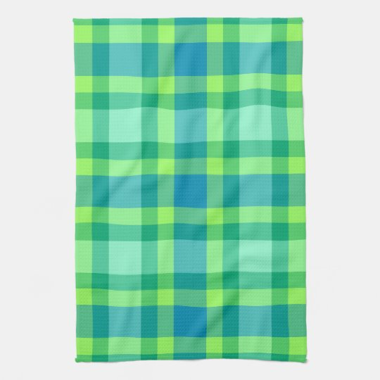 Mid-Century Modern Plaid - Jade green and Blue
