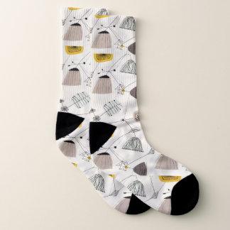 Mid Century Modern, Retro, Black, Yellow and White Socks