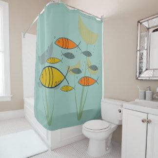 Mid Century Modern Retro Fish Swimming on Aqua Shower Curtain