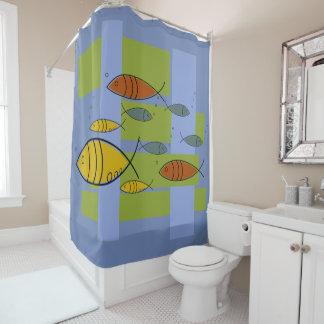 Mid Century Modern Retro Fish Swimming on Blue Shower Curtain