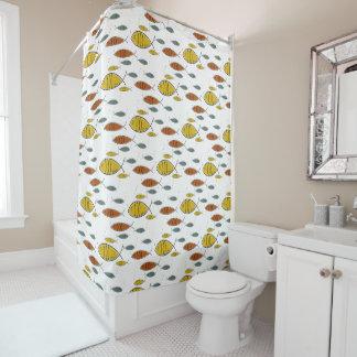 Mid Century Modern Retro Fish Swimming Pattern Shower Curtain