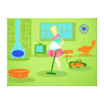 Mid Century Modern Retro Housewife Canvas Gallery Wrapped Canvas