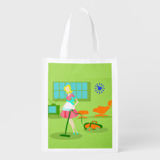 Mid Century Modern Retro Housewife Grocery Bag