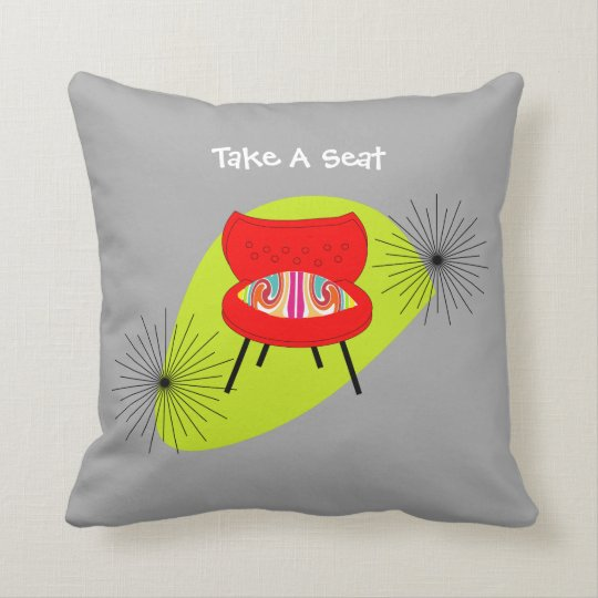 Mid Century Modern Retro Style Chair Illustrations Throw