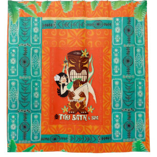 Mid Century Modern Retro Tropical Tiki Bath & Spa Shower Curtain