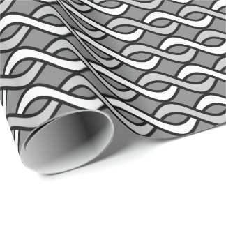 Mid-Century Modern Ribbons, grey, black and white Wrapping Paper