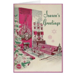 Mid Century Modern Seasons Greetings Christmas Greeting Card
