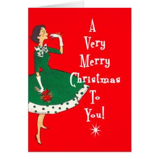 Mid Century Modern Single Girl Merry Christmas Card