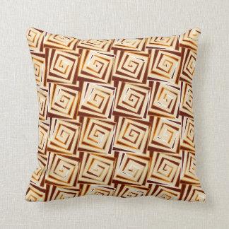 Mid-Century Modern square spirals - tan multi Cushion