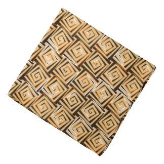 Mid-Century Modern square spirals - tan multi Head Kerchief