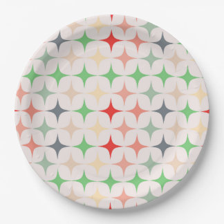 Mid-Century Modern Stars in Christmas Colours Paper Plate