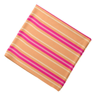 Mid-Century Modern Stripes, Fuchsia Pink & Orange Bandana