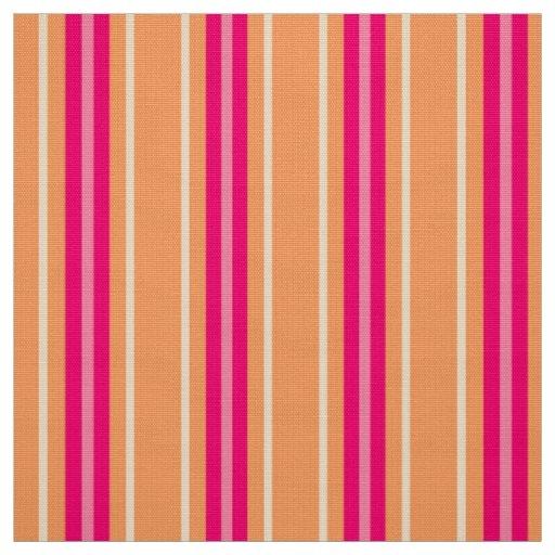 Mid-Century Modern Stripes, Fuchsia Pink & Orange Fabric