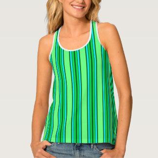Mid-Century Modern Stripes, Lime Green and Aqua Tank Top