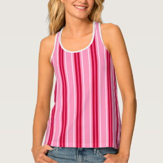 Mid-Century Modern Stripes, Pink and  Burgundy Tank Top