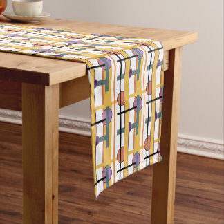 Mid Century Modern Style Geometric fabric Print Short Table Runner