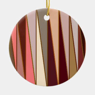 Mid-Century Modern Triangles, Brown, Beige & Coral Christmas Ornament