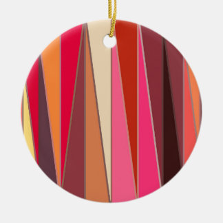 Mid-Century Modern Triangles, Fuchsia and Brown Christmas Ornament