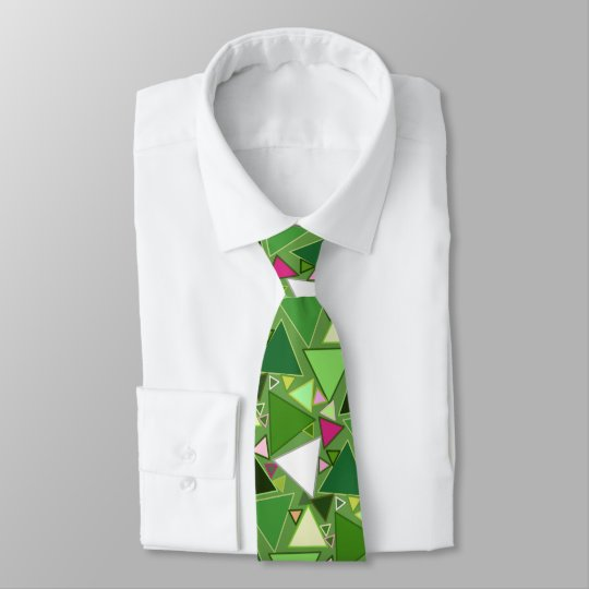 Mid-Century Modern Triangles, Lime Green Multi Tie