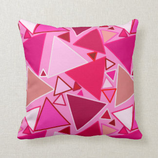 Mid-Century Modern Triangles, Pink and Burgundy Throw Pillow