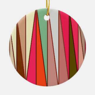 Mid-Century Modern Triangles, Taupe & Fuchsia Pink Christmas Ornament