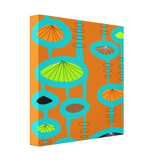 Mid Century Modern Wrapped Canvas Abstract #31