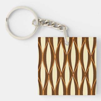 Mid-Century Ribbon Print - brown and cream Key Ring
