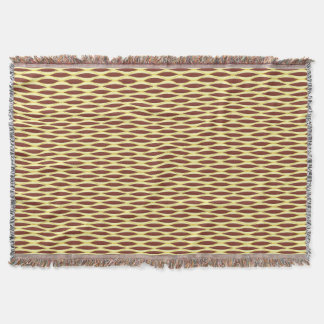 Mid-Century Ribbon Print - brown and gold Throw Blanket