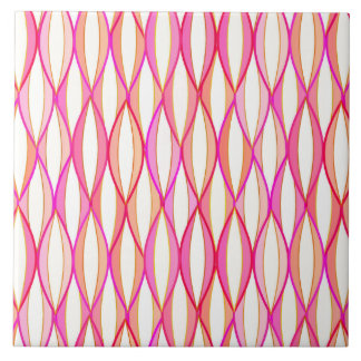 Mid-Century Ribbon Print - coral and pink Large Square Tile