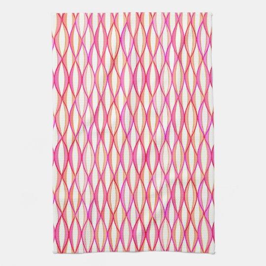 Mid-Century Ribbon Print - coral and pink Tea