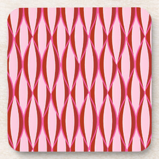 Mid-Century Ribbon Print - pink and burgundy Beverage Coaster