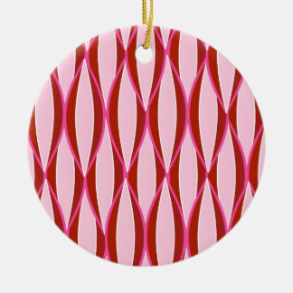 Mid-Century Ribbon Print - pink and burgundy Ornaments