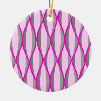 Mid-Century Ribbon Print - pink and grey / gray Ornament