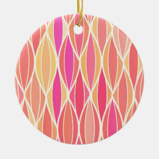 Mid-Century Ribbon Print - pink, coral and gold Christmas Tree Ornament