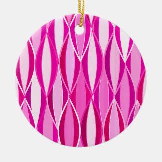 Mid-Century Ribbon Print - shades of magenta pink Christmas Tree Ornaments