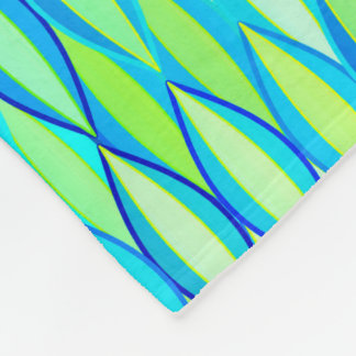 Mid-Century Ribbon Print - turquoise and lime Fleece Blanket