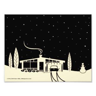 Mid-Century Snowscene-Black Photo Print