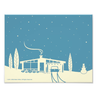 Mid-Century Snowscene-Blue Photo Print
