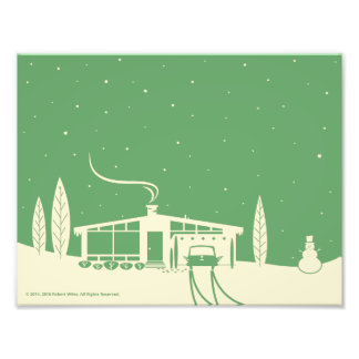 Mid-Century Snowscene-Green Photo