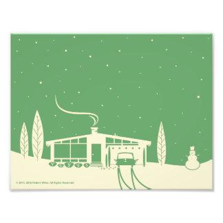 Mid-Century Snowscene-Green Photo Print