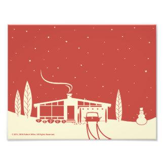 Mid-Century Snowscene-Red Photo Print