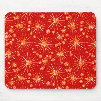 Mid Century Sputnik pattern, Deep Red Mouse Mat