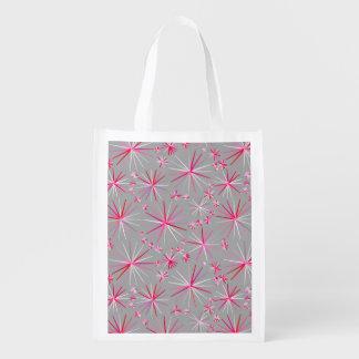 Mid Century Sputnik pattern, Grey and Fuchsia Reusable Grocery Bag