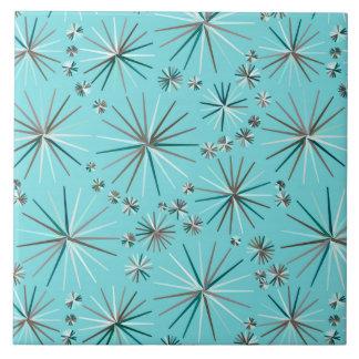 Mid Century Sputnik pattern, Robin's Egg Blue Large Square Tile