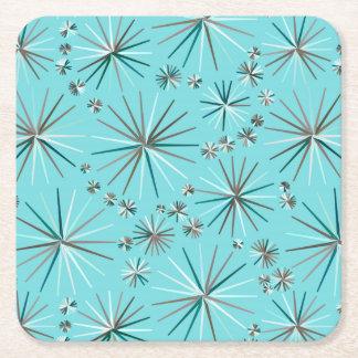 Mid Century Sputnik pattern, Robin's Egg Blue Square Paper Coaster