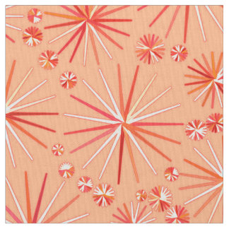 Mid Century Sputnik pattern, Shades of Coral Fabric