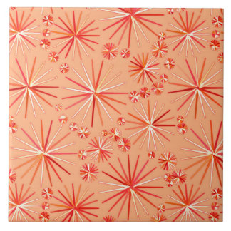 Mid Century Sputnik pattern, Shades of Coral Tile