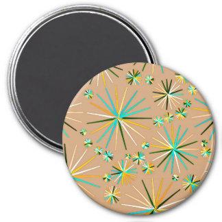 Mid Century Sputnik pattern, Taupe Tan 7.5 Cm Round Magnet