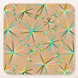 Mid Century Sputnik pattern, Taupe Tan Square Paper Coaster